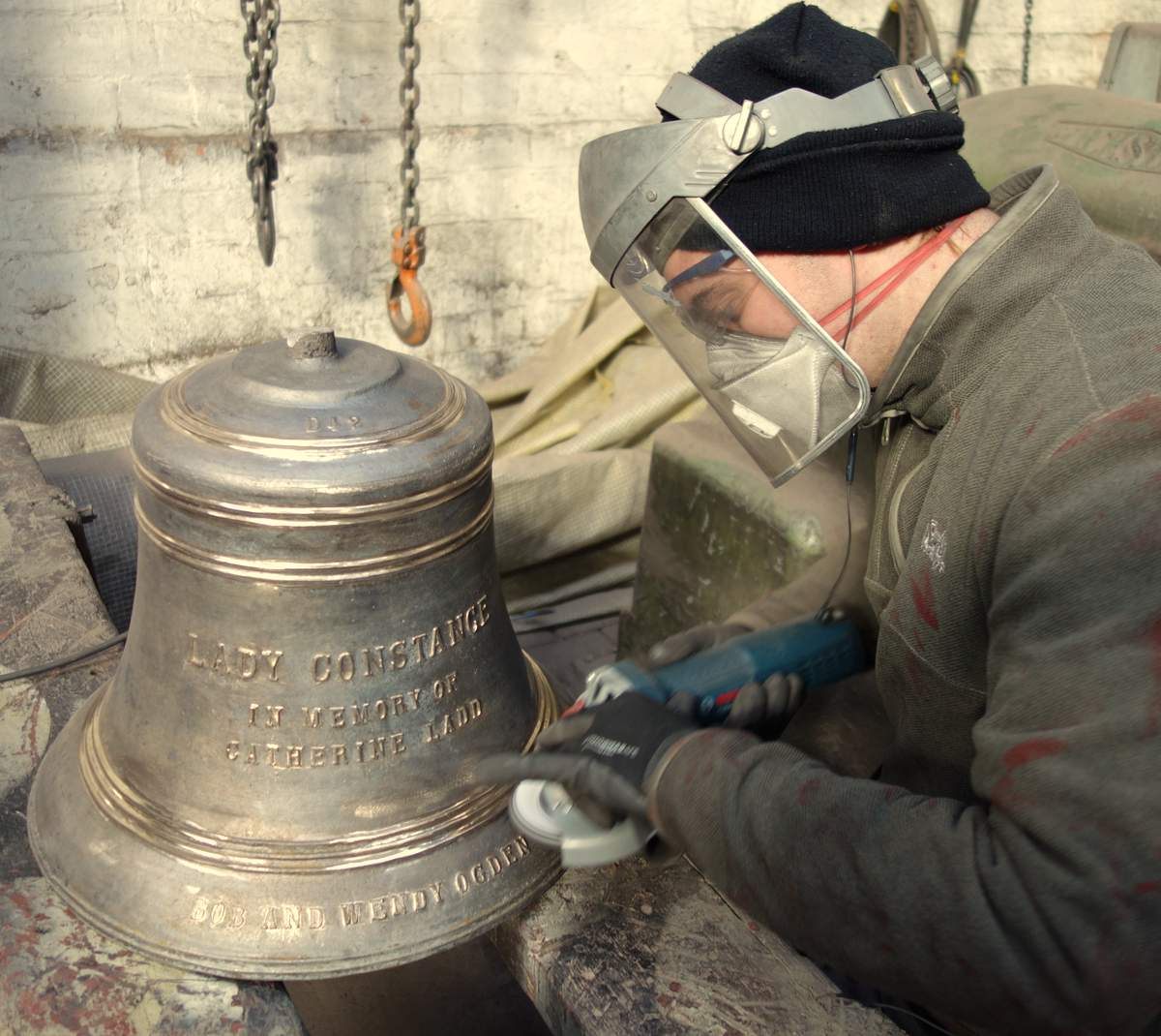 Will fettles one of Vernet's smaller bells.