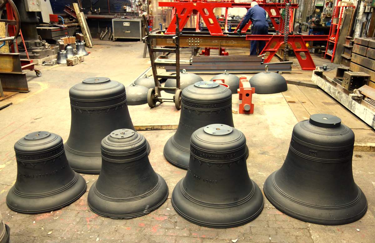The bells ready for their final polish before dispatch.