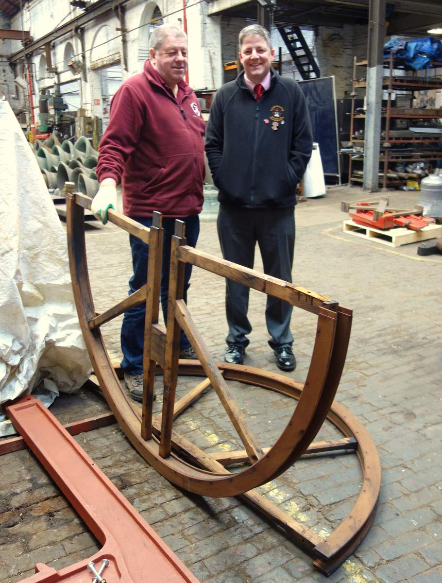 Ben Johnson collects the new wheel for Leeds Minster.