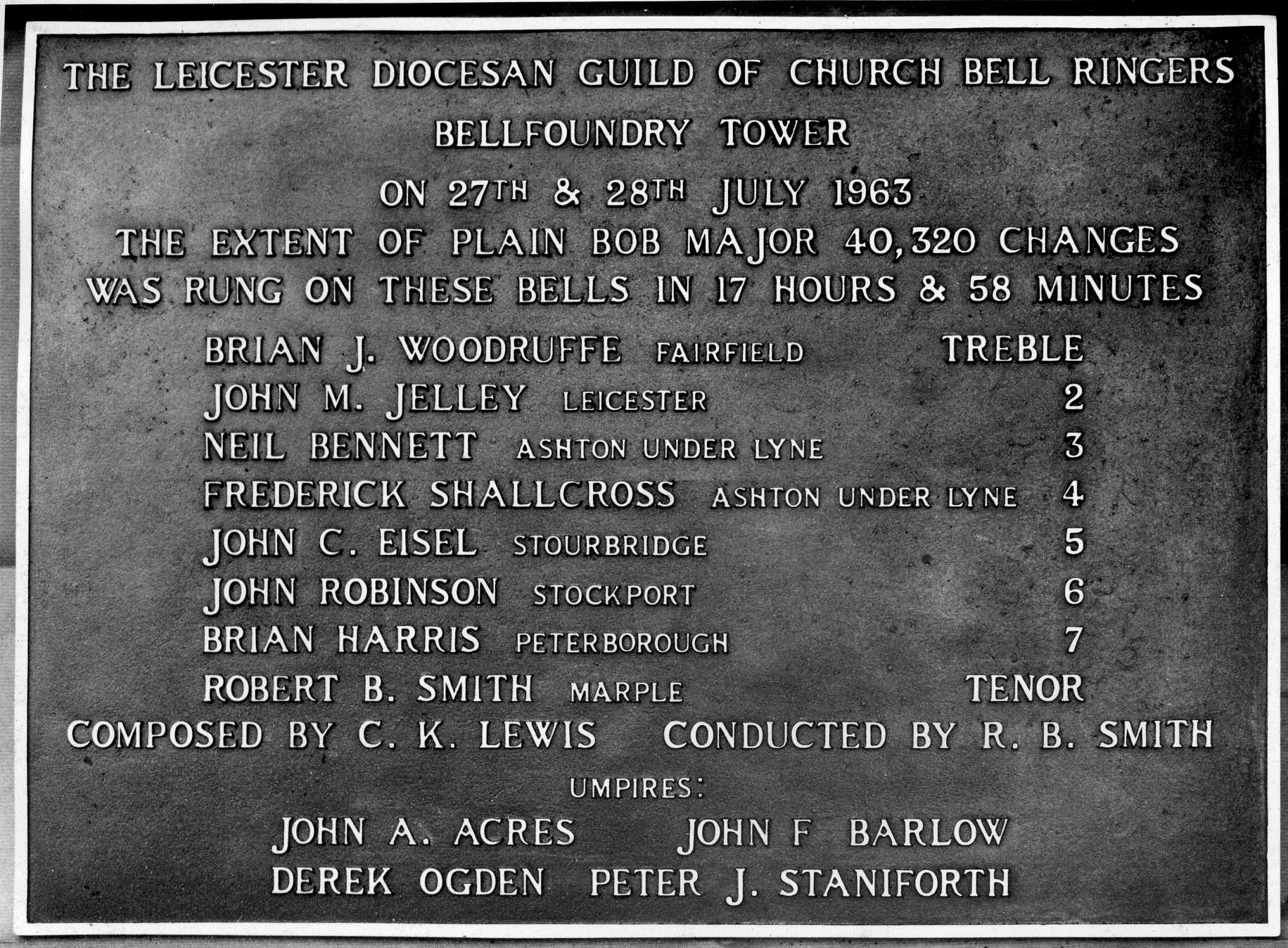 Cast plaque recording the longest ever peal which was rung on our bell foundry bells - a unique record in the history of change ringing.
