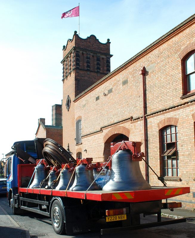 A new ring of ten bells for Guildford, Surrey leaves the Foundry April 2013.