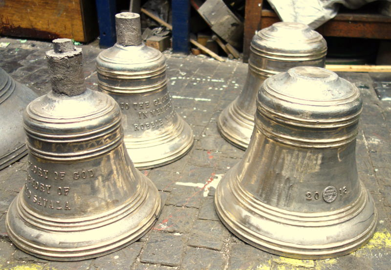 Ayr's new bells now in the tuning shop.