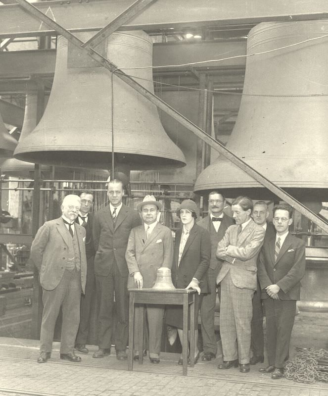 Edward Bok, the donor of the Bok carillon, (wearing the hat) at Taylor's before shipment. On the far left is Jef Denyn, the famous Belgium carillonneur, who came to demonstarte the instrument at the Foundry.