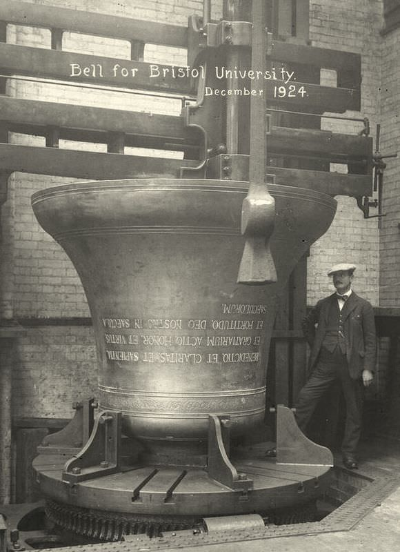 The bell for Bristol University still at the foundry.