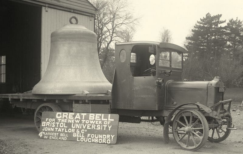 The bell for Bristol University on a lorry ready for delivery.