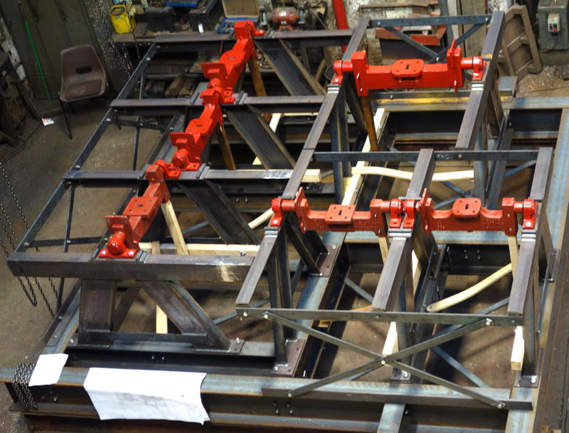 The new bell frame before dismantling and galvanising.