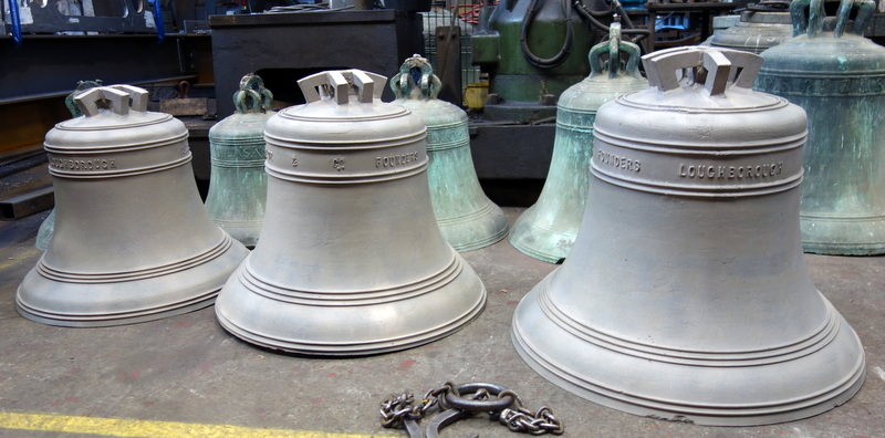 Butterton's orginal three bells have been brought up from one of our storage pits and have been cleaned by gentle sandblasting.