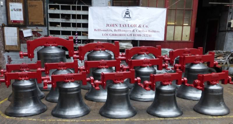 Christchurch Cathedral, New Zealand bells ready to leave Taylor's - April 2014.
