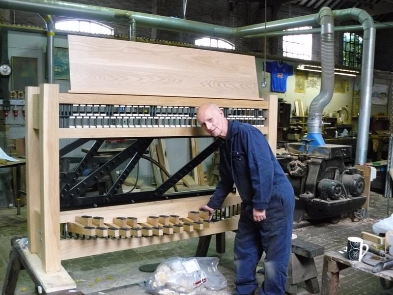 Charterhouse School - new four and a half octave clavier being made in our woodwork department - August 2013.