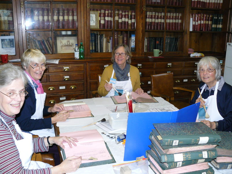 Our team of NADFAS volunteer conservators (left to right) Hilary Olleson, Gill Carter, Sue Palfrey & Evelyn Brown.