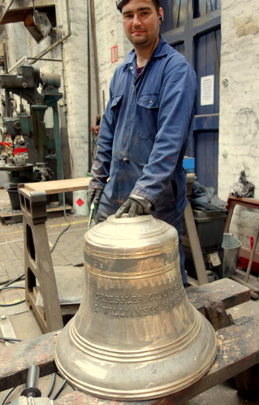 Will fettles one of Geraldton's new bells before tuning.