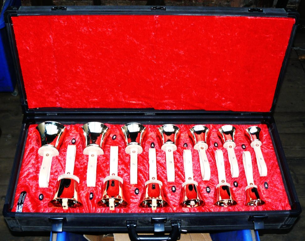 A new set of musical handbells ready for dispatch.