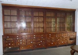 The bookshelves of the archive room emptied to prepare for the restauration.