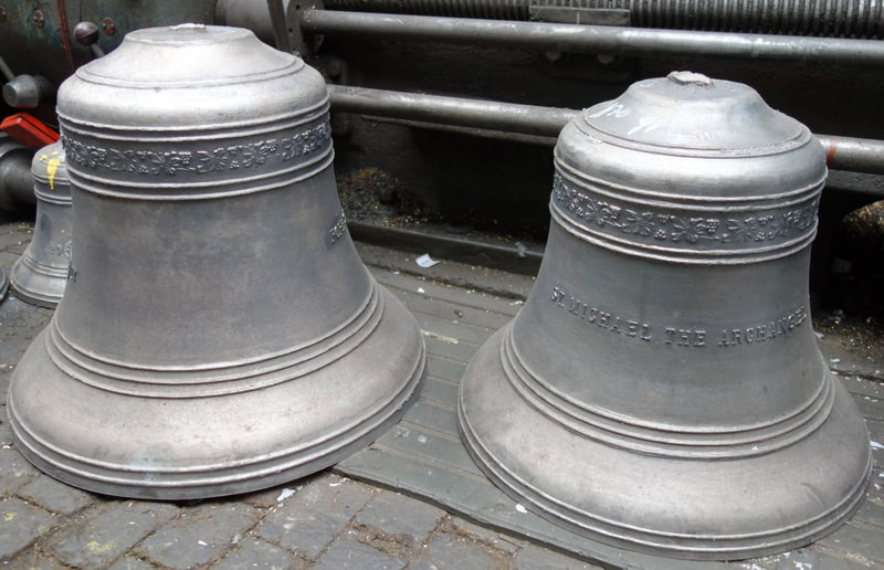 The first two of Rosemeadow's new bells to be dug up - lovely castings.