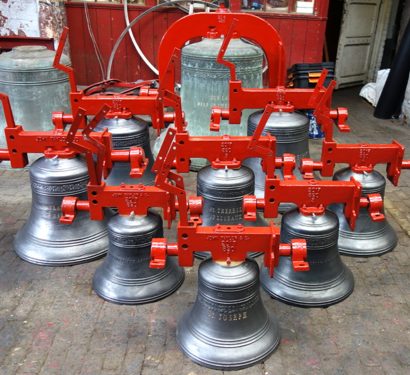 Rosemeadow's new ring of eight, together with bourdon bell, ready for dispatch.