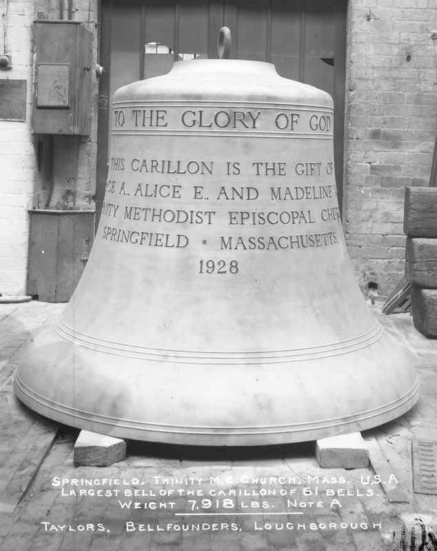 The largest bell of the Springfield Trinity Church carillon of 61 bells.