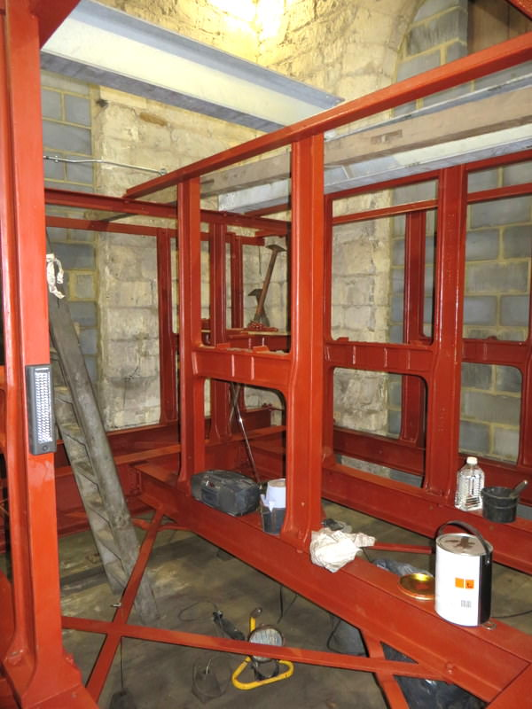 The iron & steel bellframe has been thoroughly cleaned and red oxide primer has been applied - enamel gloss will complete the job.