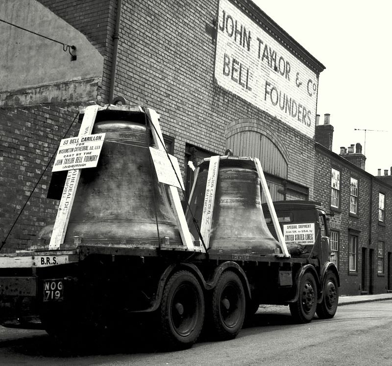 Two of the new bells for Washington Cathedral leave Loughborough - largest 10 tons.