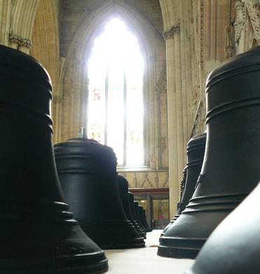 Carillon bells waiting to be lifted into the south-west tower at York Minster.