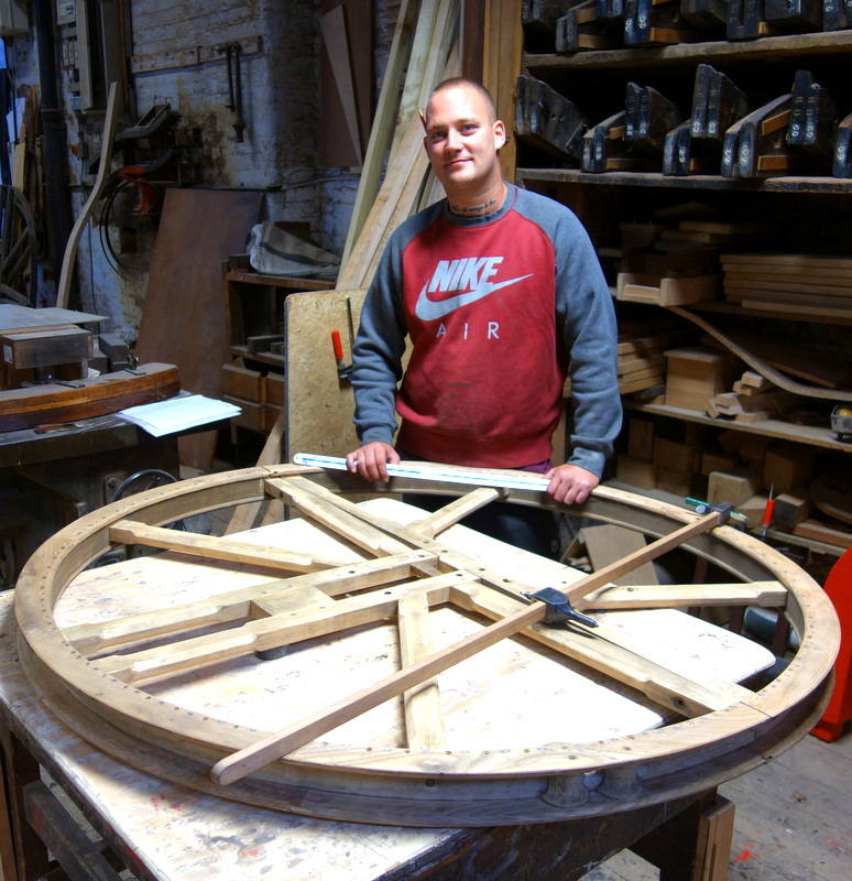 Ross alters one of the wheel centres to accommodate the new headstock.