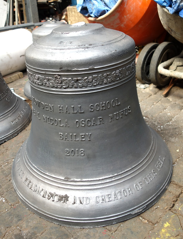 The tenor bell straight from the mould before fettling.