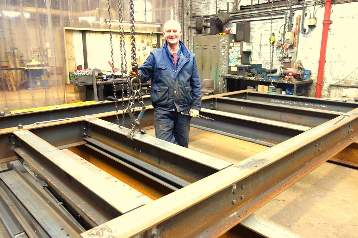 Colin lays out the base grillage of the new bell frame.