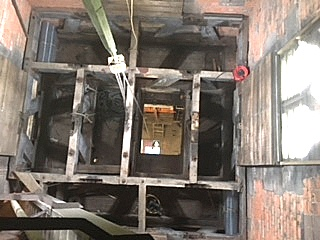 Looking down on the old bell frame after the bells had been removed. (Photo: Ray Chamberlain)