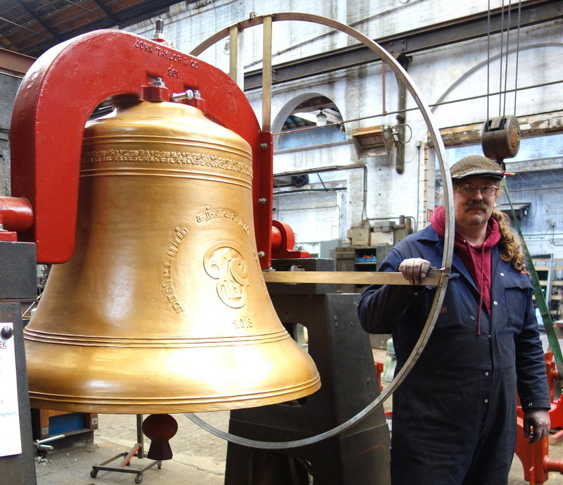 Bill with the finished bell on our ringing up stand.