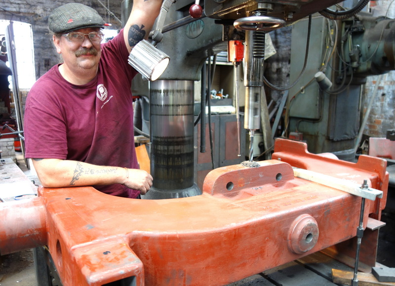 Bill drills the new 11rth bell headstock for its clapper adjusters.