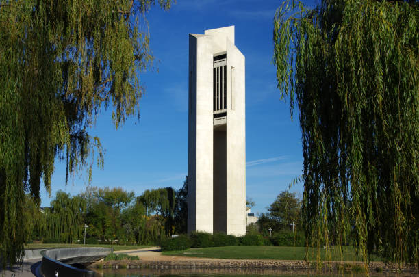 Canberra, Australian Capital Territory, Australia - April 28, 2018: Morning sunlight hits the National Carillon, a gift from the British government to the people of Australia to commemorate the 50th anniversary of the national capital, Canberra. Queen Elizabeth II officially opened the National Carillon on 26 April 1970.