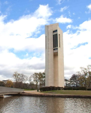Canberra's National Carillon Tower on Aspen Island.