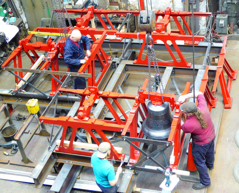 New bell frames constructed from galvanised steel and cast iron are built in our works.