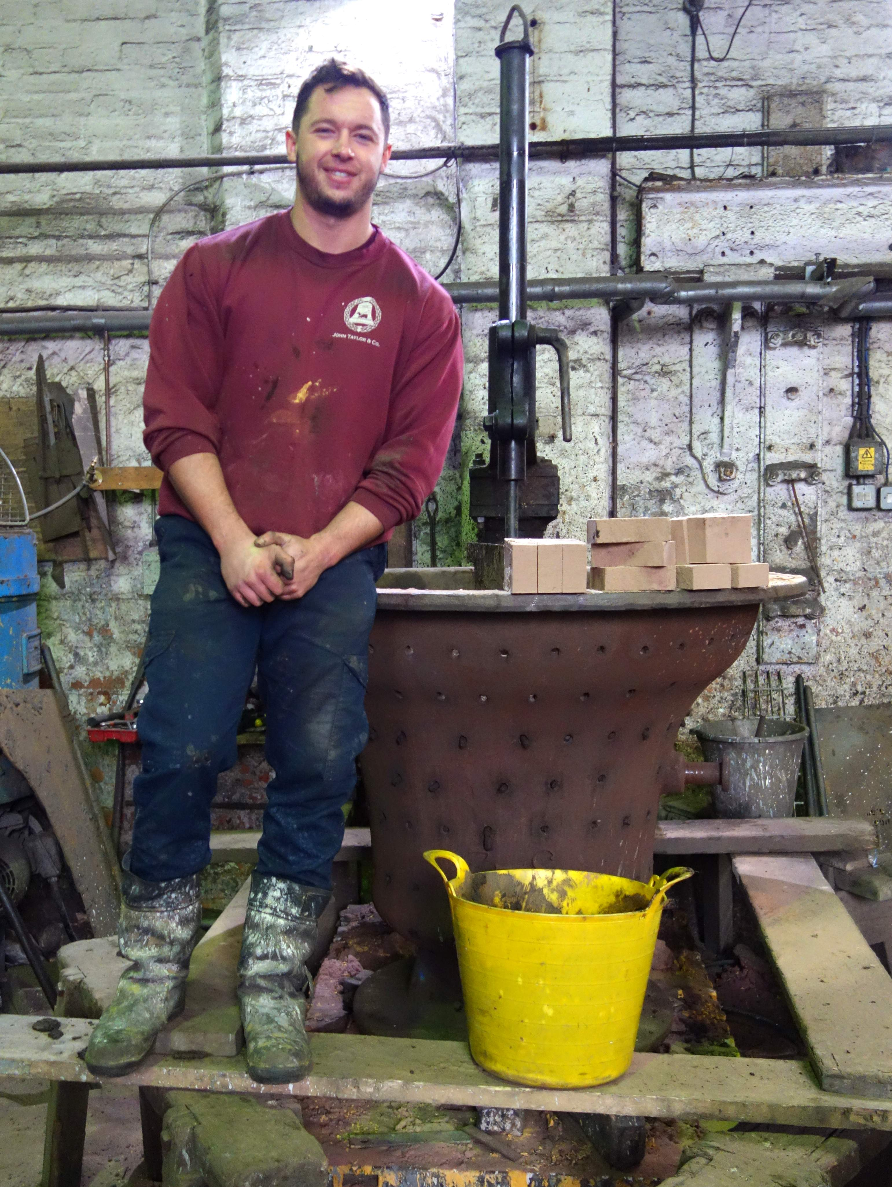 Matt prepares the mould for the new bell.