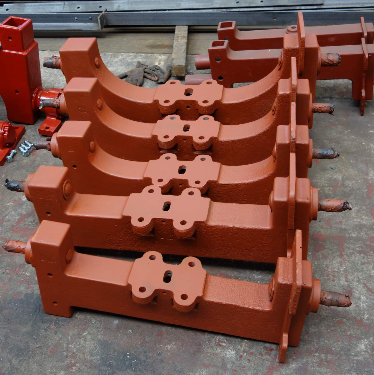 Cleaned by sandblasting - the headstocks have been altered and are ready to be fitted to the bells.