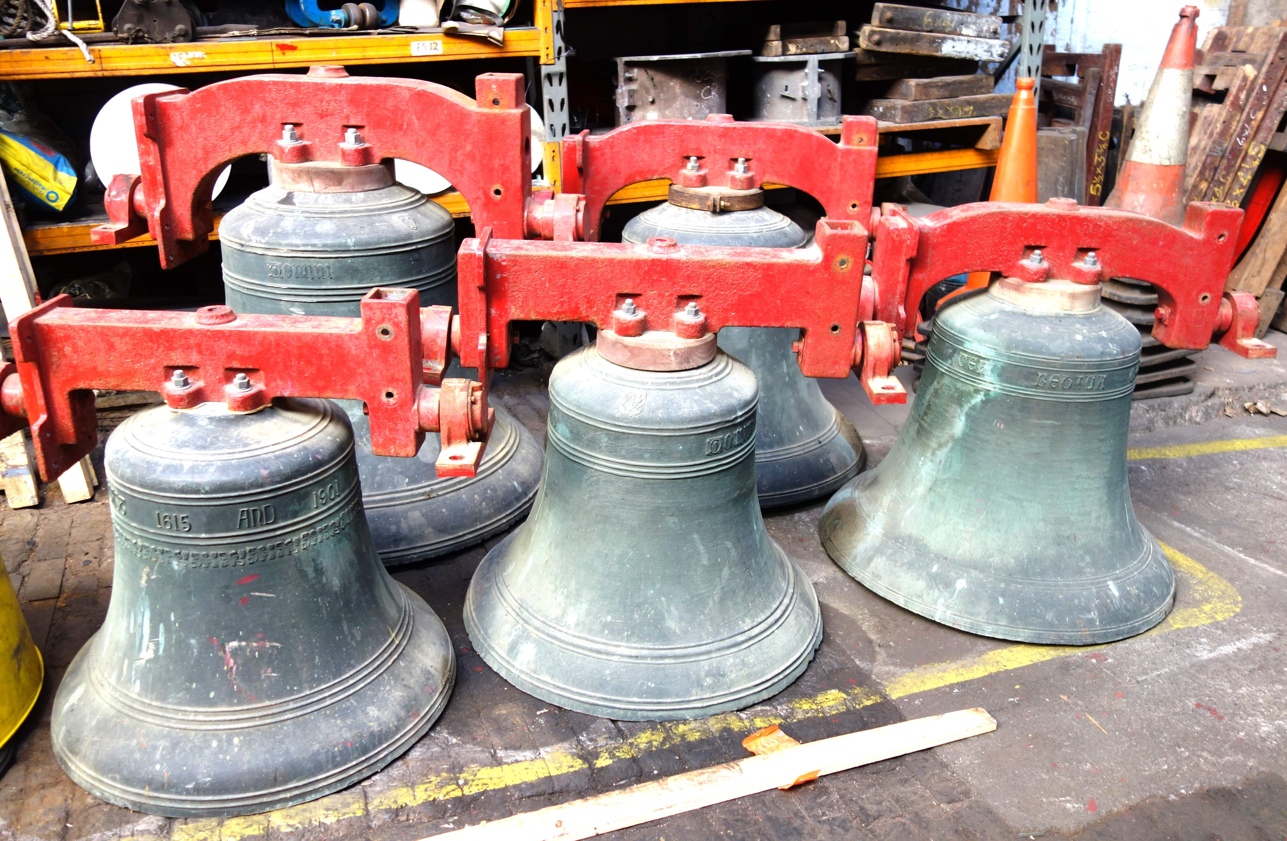 Shotesham bells on arrival at the Foundry.