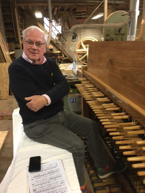 Carillonneur Trevor Workman tried out the new instrument and was highly delighted.