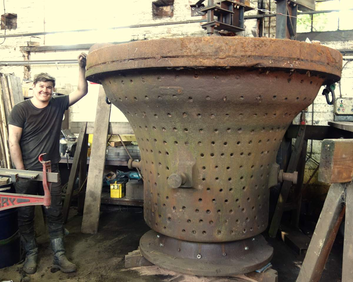 Foundry man Anthony Stone with the massive bell case.