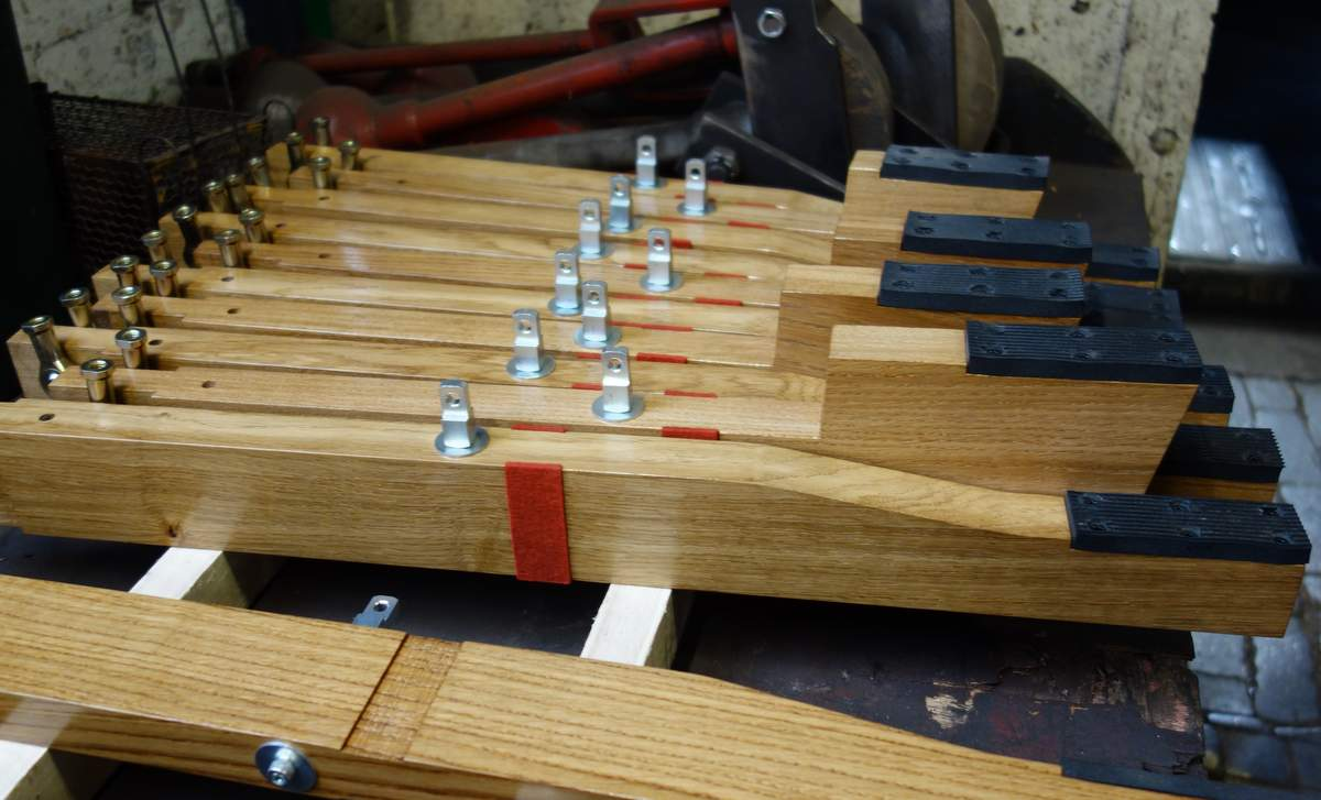 Foot pedals in production for the practice clavier.