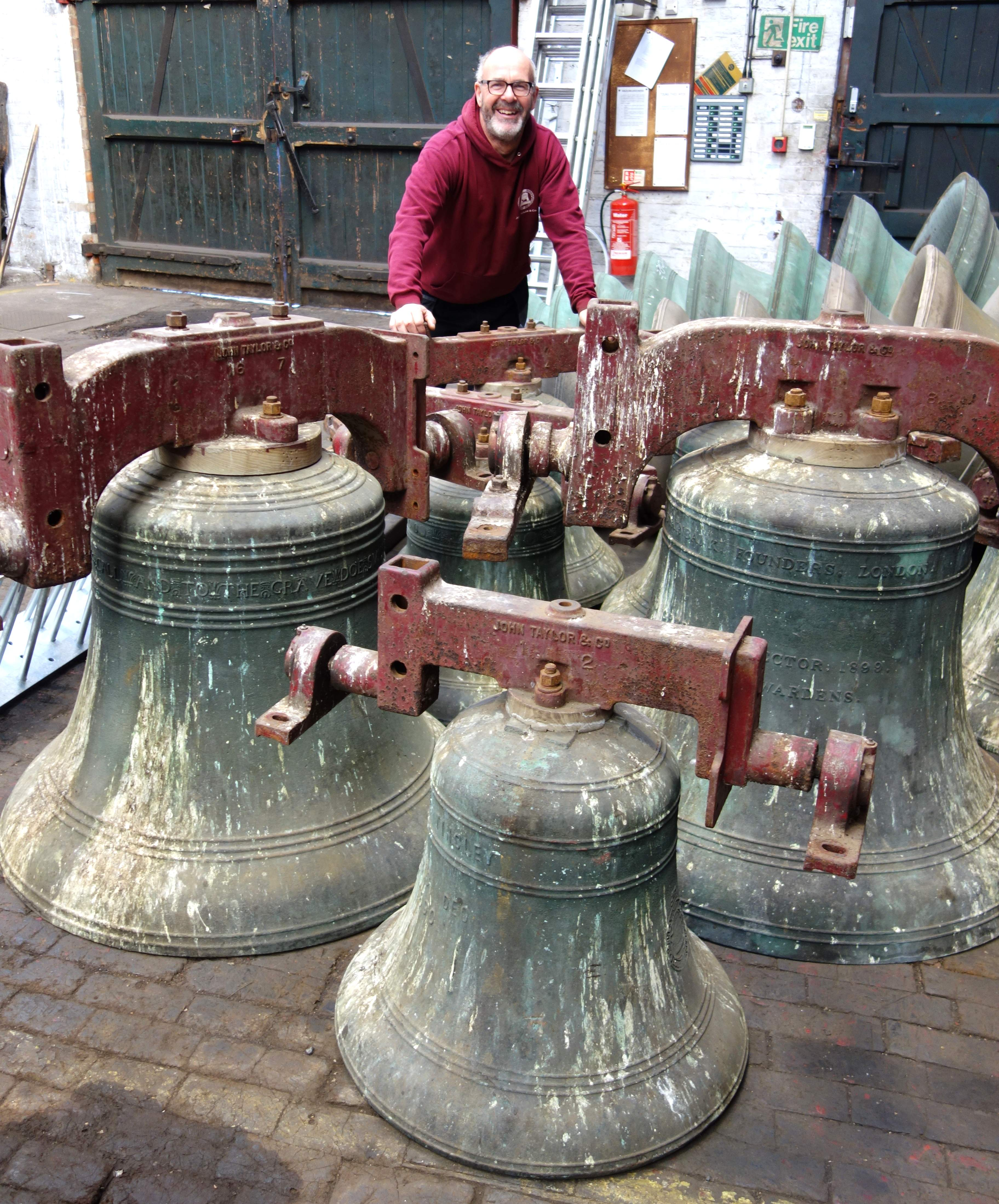 Bell hanger Neil Thomas removed the bells from Grappenhall with local help.