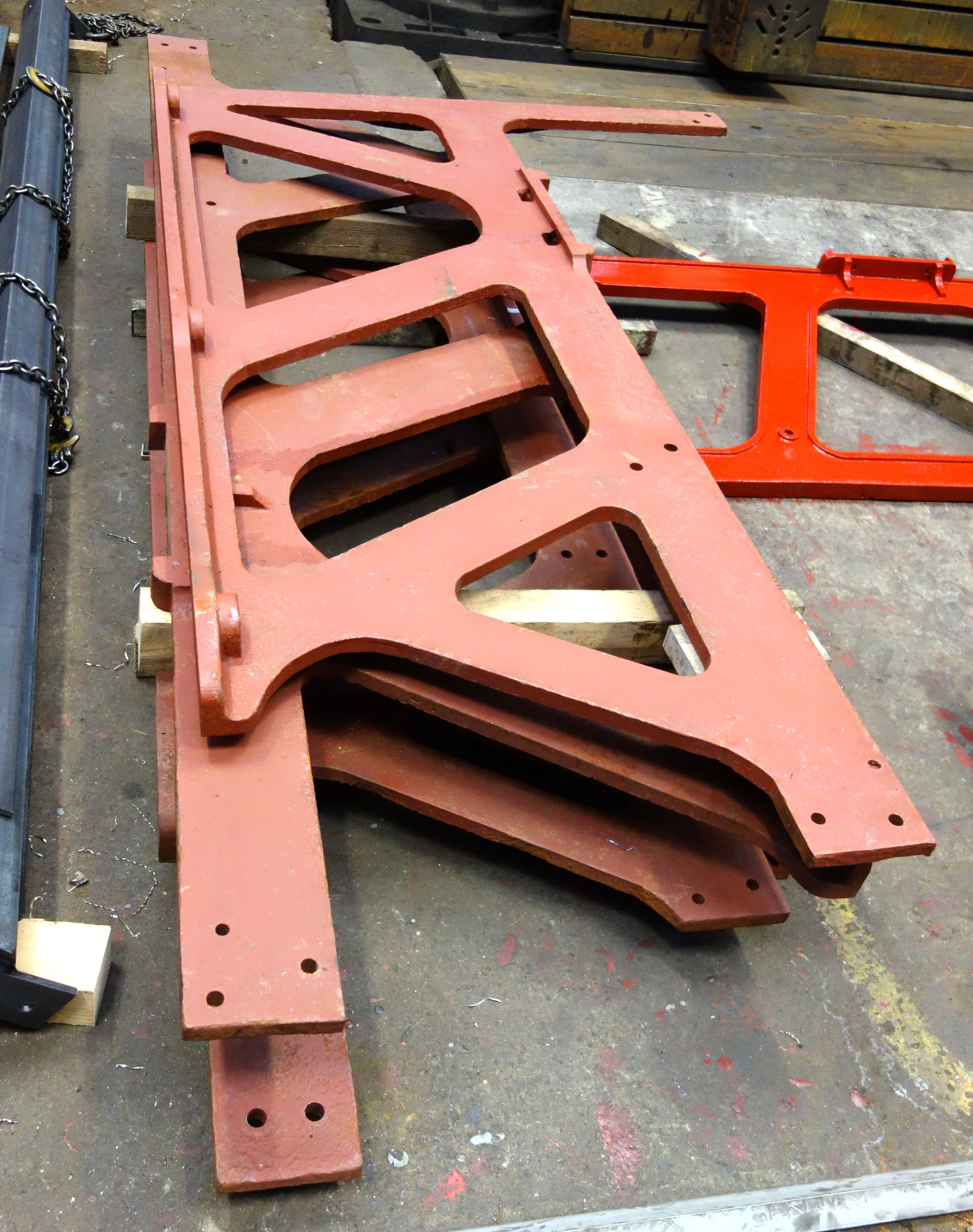 Some of Horbury's cast iron side frames will be re-used after cleaning and painting.