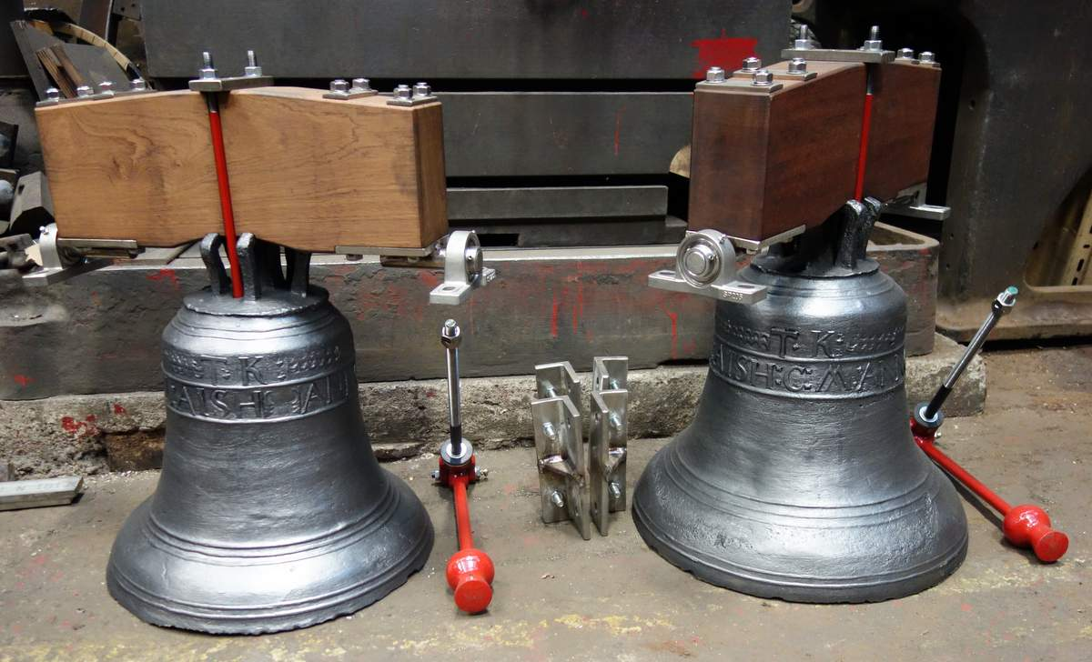 The restored bells ready for dispatch.