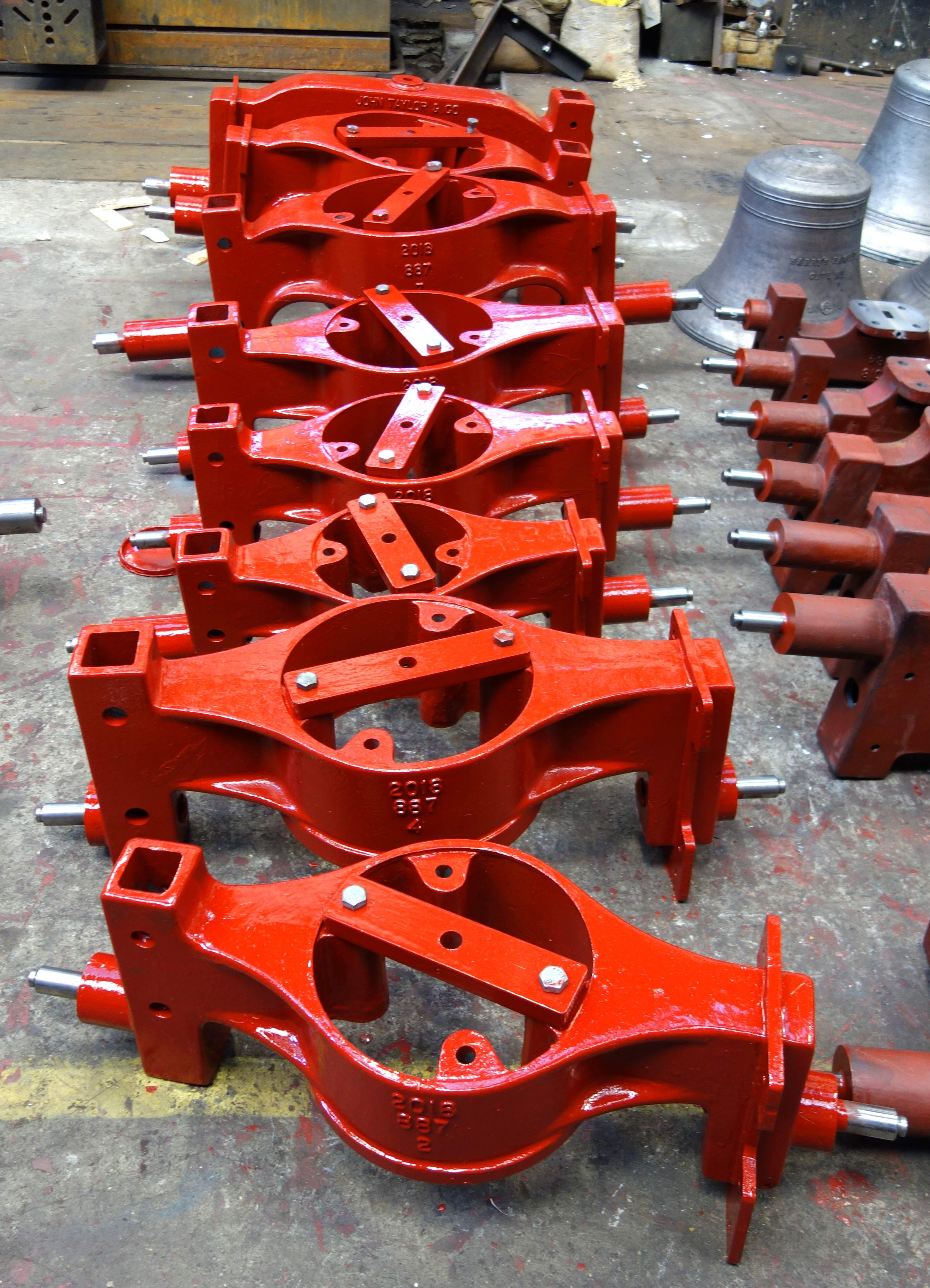 The canons have to be retained on the bells so specially designed canon retaining headstocks have been cast.