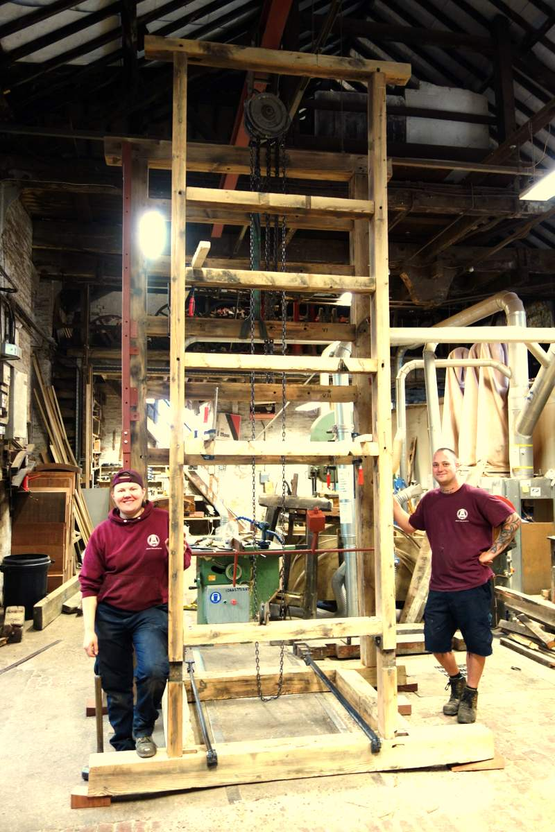 The old chiming frame is being restored and rebuilt.