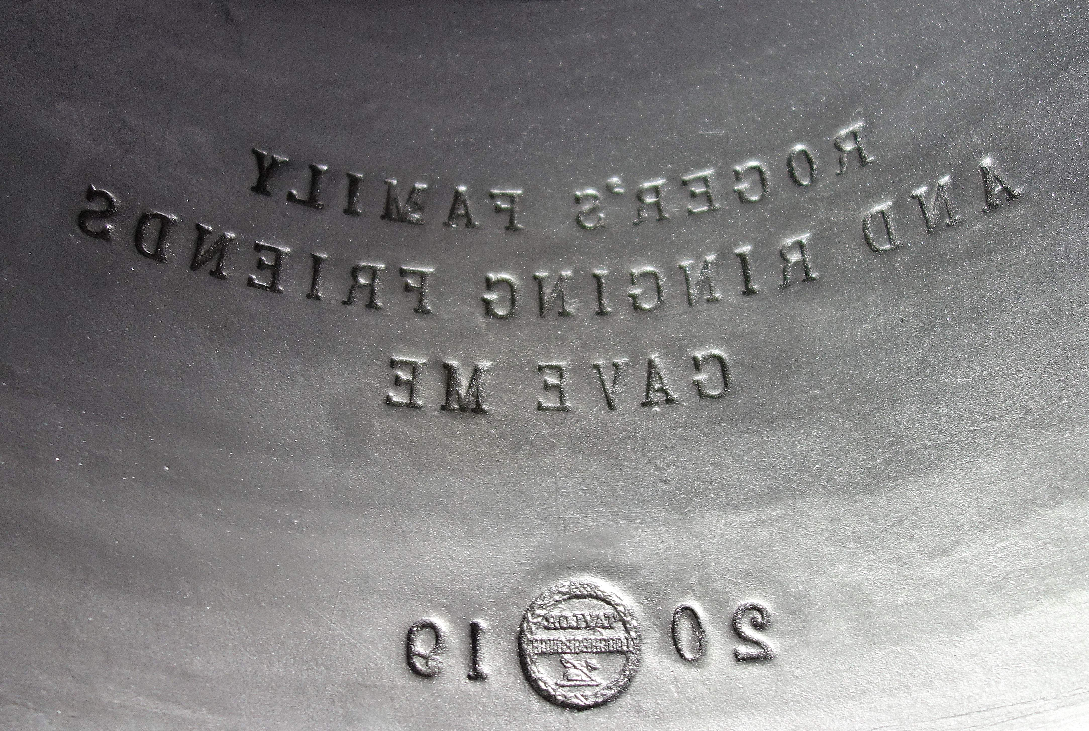 The mould for the bell given in memory of Roger Green of Ilkley.
