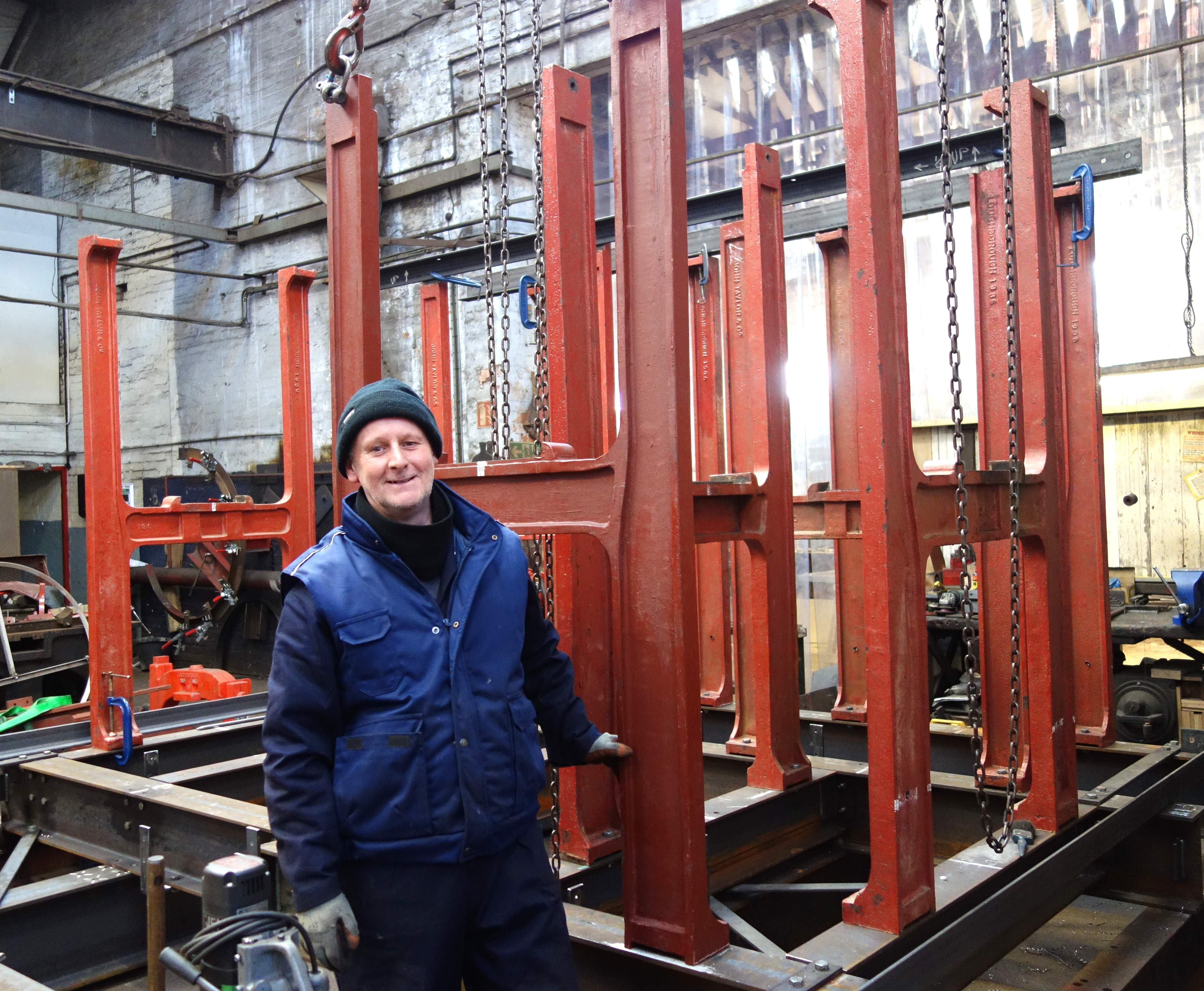 Colin has been building bellframes at Taylor's for more than 40 years.