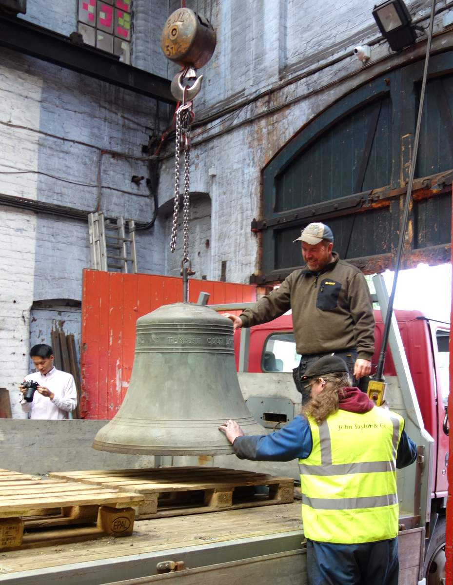 The bells on their way for sand blasting.