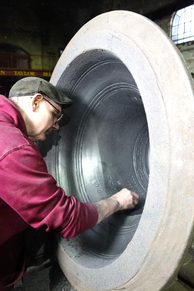 Roger prepares one of the treble moulds.