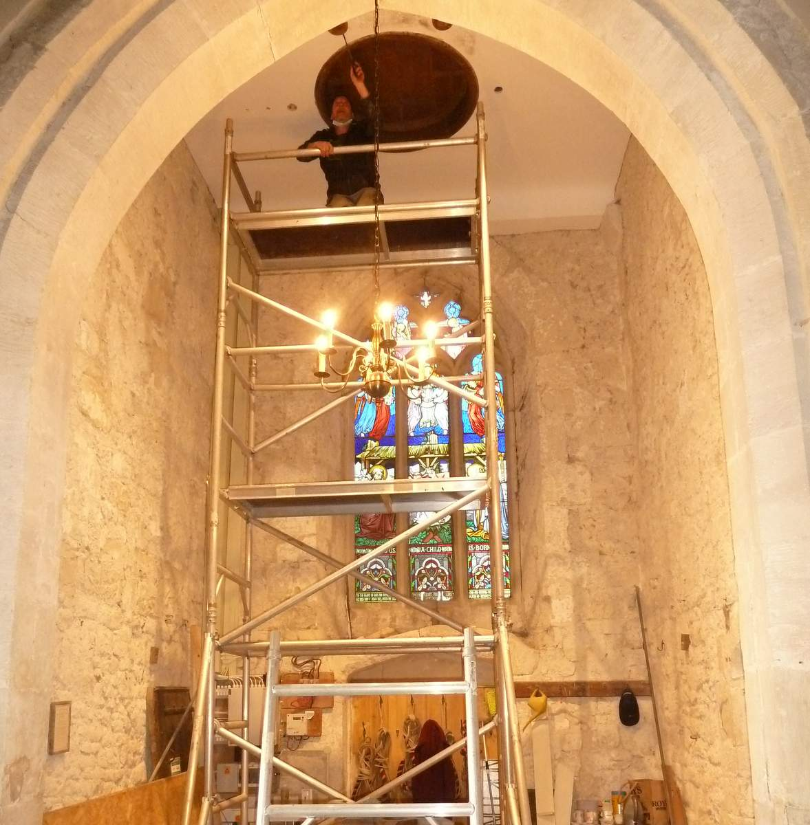 Ceiling bosses being fitted. Photo: Roy LeMarechal.
