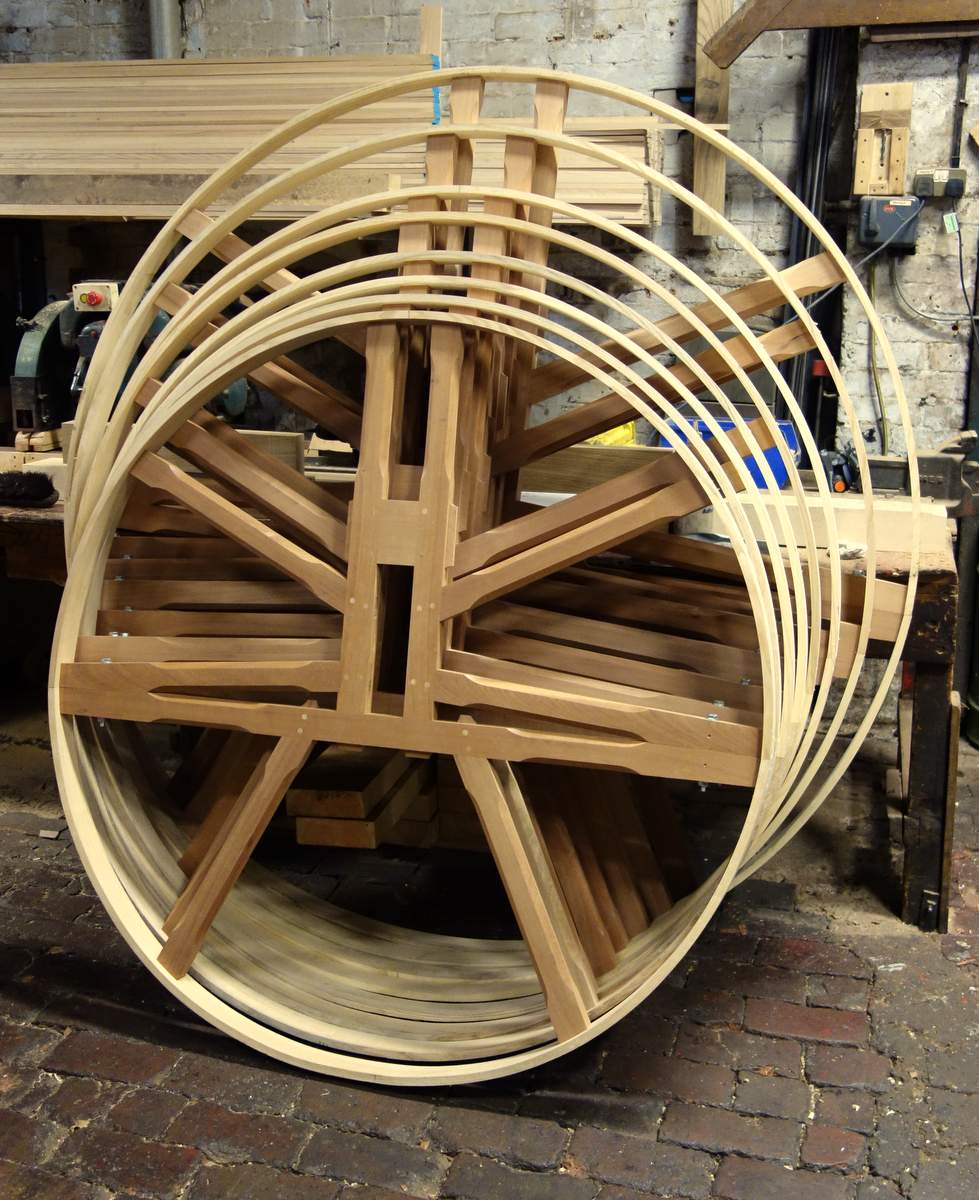 The new bell wheels are being manufactured.