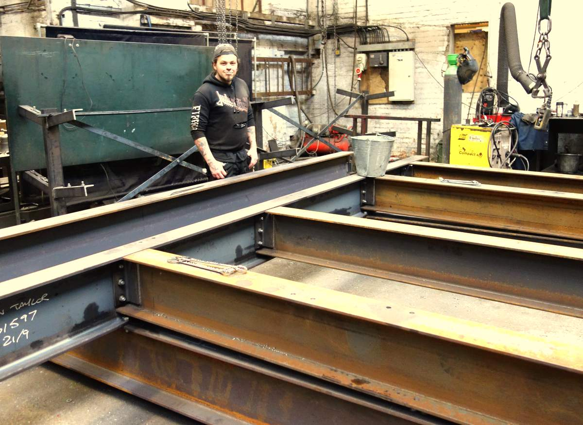 Gary lays out the base frame.